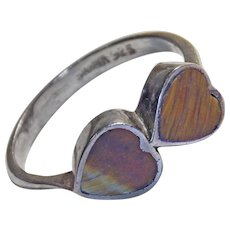 Gorgeous TIGER EYE Vintage Hearts Natural Stone Sterling Ring