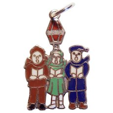 Awesome STERLING & ENAMEL Christmas Carolers Vintage Charm