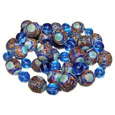 Fabulous Enamel Blue Glass Vintage Asian Beads Necklace