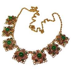 Gorgeous GREEN Glass & Rhinestone Filigree Design Vintage Necklace