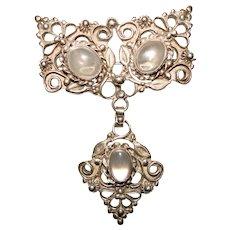 Fabulous STERLING & MOONSTONE Ornate Vintage Dangle Brooch
