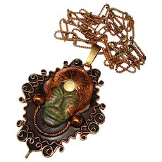 Fabulous MEXICO Mixed Metals Mayan Design Vintage Pendant Necklace