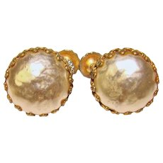 Gorgeous Petite MIRIAM HASKELL Signed Faux Pearl Button Earrings
