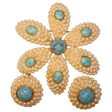 Fabulous Faux Pearl & Glass Turquoise Vintage Brooch Set