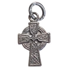 Tiny Sterling CROSS Celtic Design Vintage Charm