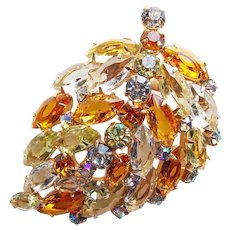 Fabulous AMBER YELLOW & CLEAR Open Backed Rhinestone Vintage Brooch - Autumn Fall Colors