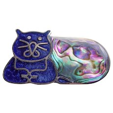 Adorable CONTENTED CAT Silvertone Abalone & Blue Inlay Vintage Brooch - Mexico