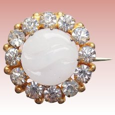 """Tiny Antique Poured Glass Stone & Rhinestone Mini Pin Brooch - 11/16"""" - For Your Doll"""