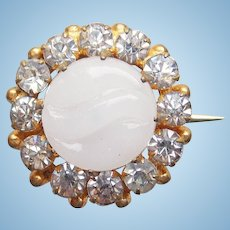 "Tiny Antique Poured Glass Stone & Rhinestone Mini Pin Brooch - 11/16"" - For Your Doll"