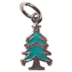 Tiny Sterling & Enamel CHRISTMAS TREE Vintage Estate Charm - Christmas Holidays