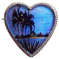 Gorgeous 900 SILVER Morpho Butterfly Wing Heart Vintage Brooch - Souvenir of Rio de Janeiro Brazil