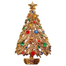 Fabulous ART Signed Christmas Tree Rhinestone Brooch