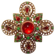 Fabulous ART Red & Green Jeweled Vintage Brooch