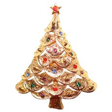 Gorgeous Rhinestone Vintage Christmas Tree Holiday Brooch - Signed JJ - Jonette Jewelry Company