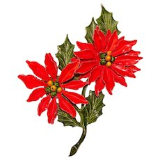 Awesome POINSETTIA Enamel Flower Power 1960s Vintage Brooch