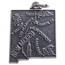 Awesome NEW MEXICO Sterling Vintage Charm - State Souvenir - Maisels Indian Trading Post