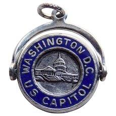 Sterling & Enamel WASHINGTON DC Capitol Vintage Spinner Charm - Travel Souvenir