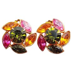 Gorgeous Green Pink & Amber Rhinestone VIntage Clip Earrings