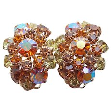 Gorgeous Amber & Yellow Rhinestone Vintage Earrings - Autumn Fall Colors