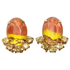 Fabulous Fall Colored GIVRE GLASS Vintage Rhinestone Clip Earrings