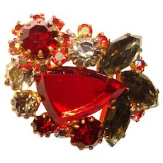 Fabulous RED & SMOKE Rhinestone Vintage Brooch