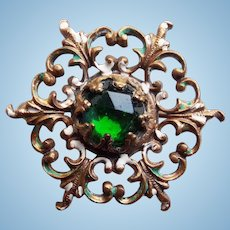 """Tiny Antique Green Glass Stone & Mini Pin Brooch - 7/8"""" - For Your Doll"""