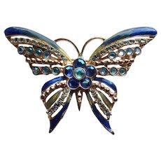 Fabulous KIRKS FOLLY Signed Rhinestone & Enamel Butterfly Brooch