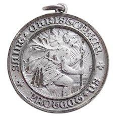 Sterling ST. CHRISTOPHER Signed Creed Vintage Medal Pendant or Charm