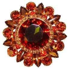 Fabulous D&E JULIANA Topaz Orange Colored Rhinestone Vintage Brooch
