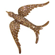 Gorgeous HEIDI DAUS Signed Bird In Flight Rhinestone Brooch
