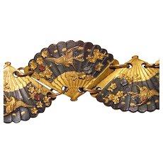 Fabulous Antique SHAKUDO Bird & Flower Fan Design Bracelet