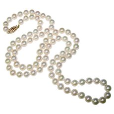 Fine Cultured Akoya Pearl 14K Gold Clasp Opera Length Vintage Necklace