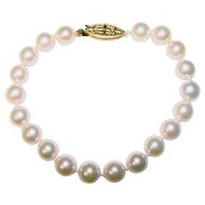 Fine Cultured Akoya Pearl 14K Gold Clasp Vintage Bracelet