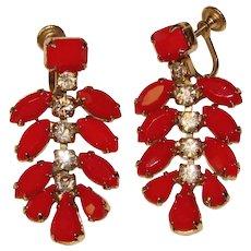 Fabulous WEISS Signed Red Rhinestone Dangle Earrings