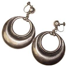 Fabulous MEXICAN STERLING Large Hoop Dangle Vintage Earrings