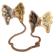 Fabulous MEXICAN STERLING Butterfly Design Abalone Pinch Clips Brooch