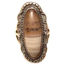 Fabulous STERLING & AGATE Vintage Elongated Design Ring