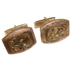 Awesome MEXICAN STERLING Abalone Inlay Vintage Cufflinks