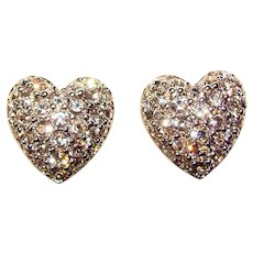 Gorgeous SWAROVSKI Signed Rhinestone Heart Design Clip Earrings