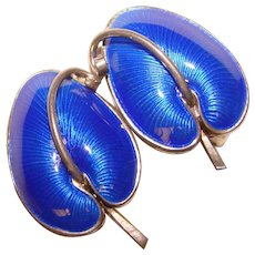 Fabulous Volmer Bahner VB Denmark Signed STERLING Blue Enamel Earrings
