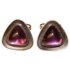 Awesome Modernist Design Purple Glass Stone Cufflinks