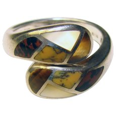 Gorgeous STERLING Stone Inlay Fall Colors Estate Ring