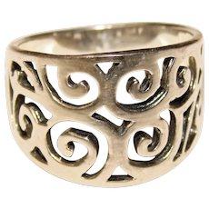 Gorgeous STERLING Openwork Pattern Vintage Ring