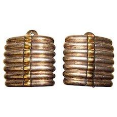 Fabulous STERLING & 18K Gold Vintage Clip Earrings