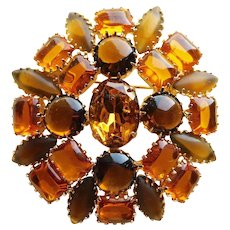 Gorgeous AMBER & BROWN Rhinestone Vintage Brooch - Autumn Fall Colors