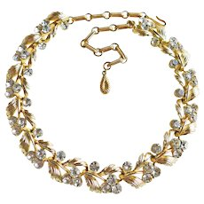 Gorgeous LISNER Signed Clear Rhinestone Vintage Necklace