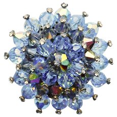 Gorgeous Blue Aurora Crystal Vintage Brooch