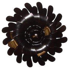 Awesome 1960's BLACK Enamel Flower Power Brooch