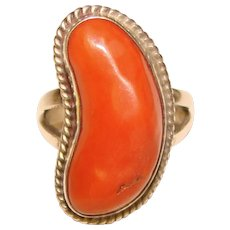 Fabulous STERLING & CORAL Southwest Design Vintage Ring