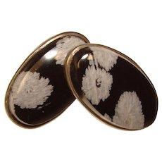 Gorgeous STERLING Silver Snowflake Obsidian Vintage Earrings
